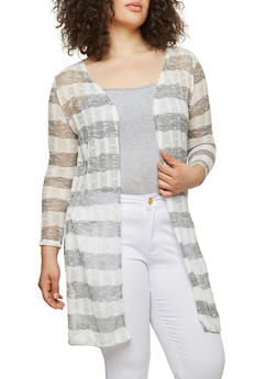 Plus Size Long Striped Cardigan - 1912074283030