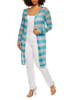 Plus Size Long Striped Cardigan - 1912074283030
