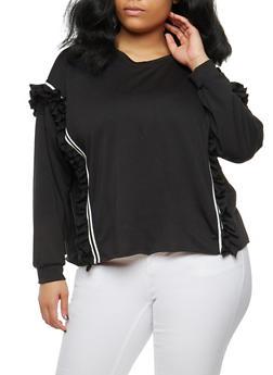 Plus Size Ruffle Band Trim Sweatshirt - BLACK - 1912074283070