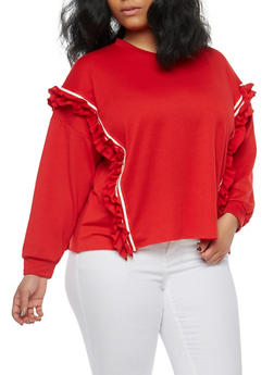 Plus Size Ruffle Band Trim Sweatshirt - 1912074283070