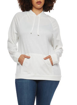 Plus Size Solid Hooded Sweatshirt - 1912074283080