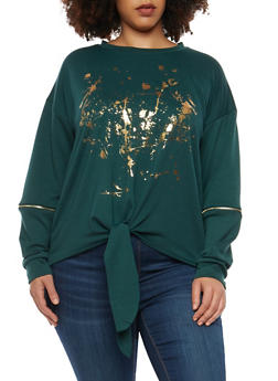Plus Size Graphic Zip Elbow Sweatshirt - 1912074283090