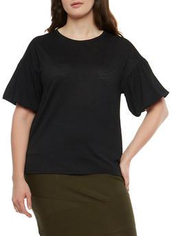 Plus Size Crepe Knit Bubble Sleeve Top - 1912074283104