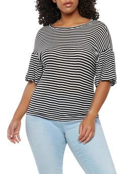 Plus Size Striped Knit Top - BLACK/WHITE - 1912074283105