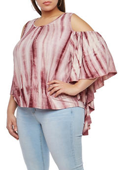 Plus Size Tie Dye Cold Shoulder Top - 1912074283111