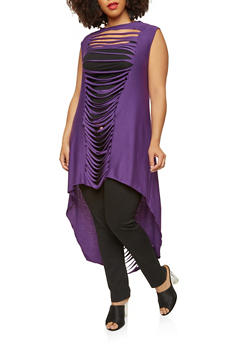 Plus Size Slashed High Low Tunic Top - 1912074283112