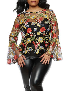 Plus Size Embroidered Mesh Bell Sleeve Top - 1912074283130