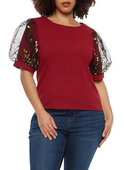 Plus Size Floral Embroidered Bubble Sleeve Top - 1912074283140