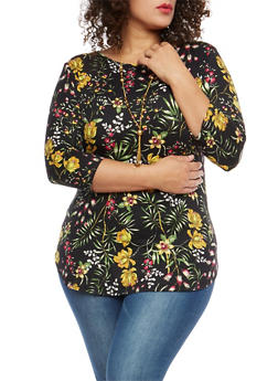 Plus Size Floral Tunic with Necklace - 1912074283150