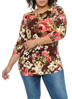 Plus Size Floral Tunic Top with Necklace - 1912074283152