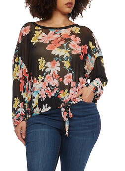 Plus Size Floral Mesh Tie Front Top - 1912074283161