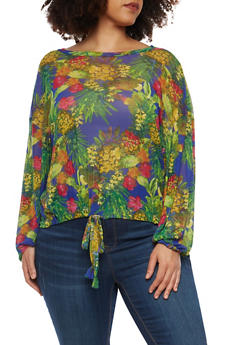 Plus Size Floral Mesh Drawstring Top - 1912074283165