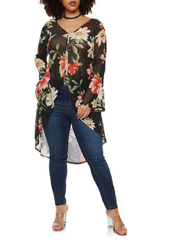 Plus Size Tropical Print Duster - 1912074283170