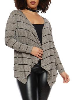 Plus Size Knit Cardigan - BLACK/GREY - 1912074283302