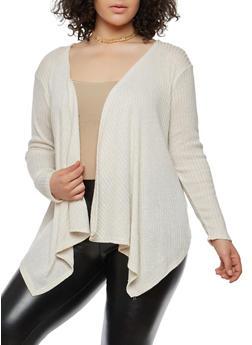 Plus Size Knit Cardigan - IVORY - 1912074283302
