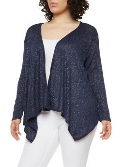 Plus Size Knit Cardigan - NAVY - 1912074283302
