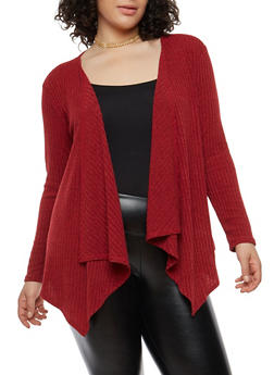 Plus Size Knit Cardigan - RED - 1912074283302