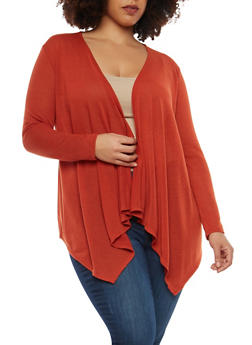 Plus Size Knit Cardigan - RUST - 1912074283302