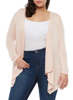 Plus Size Knit Cardigan - BLUSH - 1912074283302
