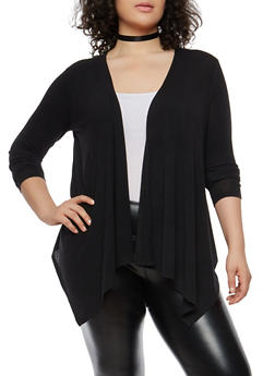 Plus Size Knit Cardigan - BLACK - 1912074283302