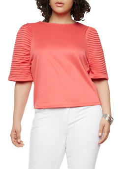 Plus Size Pleated Sleeve Top - 1912074283312