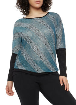 Plus Size Shimmer Knit Striped Top - 1912074283700