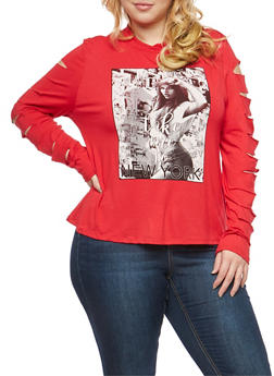 Plus Size Slashed Sleeve Graphic Top - 1912074284011