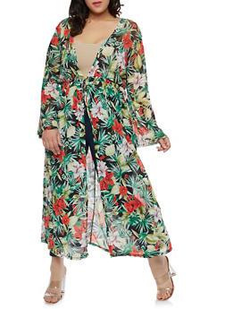 Plus Size Floral Mesh Maxi Top - 1912074284121