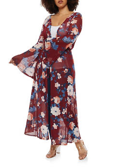 Plus Size Bell Sleeve Sheer Floral Duster - 1912074284123