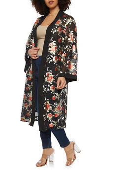Plus Size Foil Floral Bell Sleeve Duster - 1912074284150