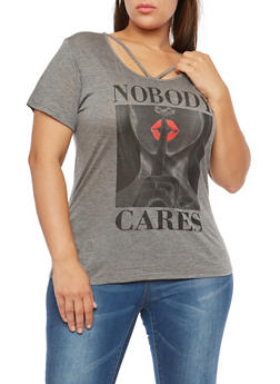Plus Size Nobody Cares Graphic T Shirt - 1912074285011