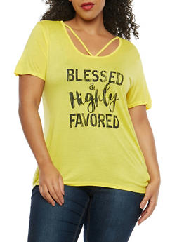 Plus Size Blessed Graphic Caged Neck Top - 1912074285013