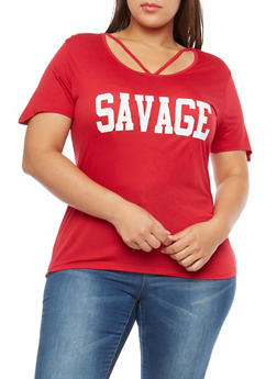 Plus Size Savage Graphic Caged Neck T Shirt - 1912074285014