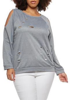 Plus Size Cold Shoulder Sweatshirt - 1912074285331