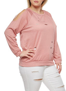 Plus Size Cold Shoulder Sweatshirt - 1912074285331