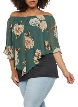 Plus Size Off the Shoulder Overlay Top - 1912074287070