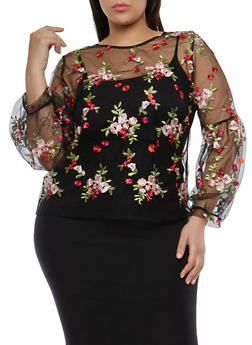 Plus Size Floral Embroidered Mesh Top - 1912074287090