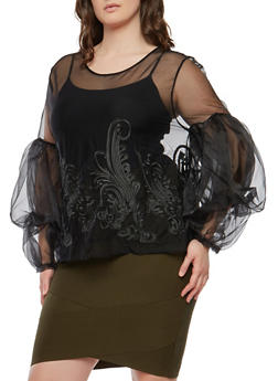 Plus Size Tiered Bubble Sleeve Sheer Top - 1912074287304