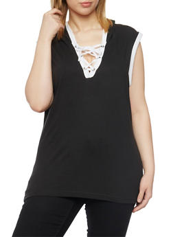 Plus Size Sleeveless Lace Up V Neck Hoodie - BLACK - 1915033877936