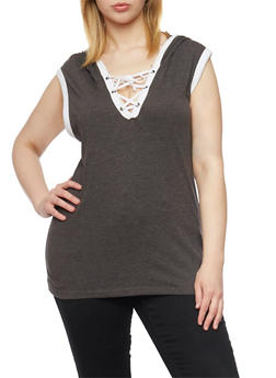 Plus Size Sleeveless Lace Up V Neck Hoodie - CHARCOAL - 1915033877936
