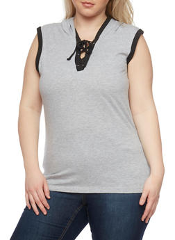 Plus Size Sleeveless Lace Up V Neck Hoodie - HEATHER - 1915033877936