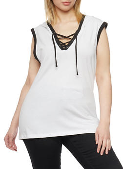 Plus Size Sleeveless Lace Up V Neck Hoodie - WHITE - 1915033877936