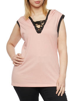 Plus Size Sleeveless Lace Up V Neck Hoodie - MAUVE - 1915033877936