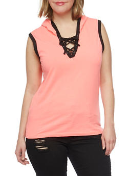 Plus Size Sleeveless Lace Up V Neck Hoodie - PINK - 1915033877936