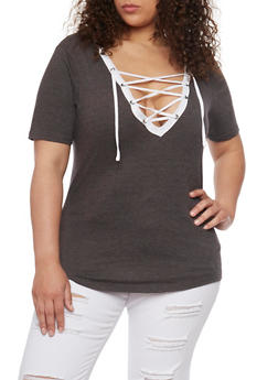Plus Size Lace Up Top with Slashed Back - CHARCOAL-WHT - 1915033877966