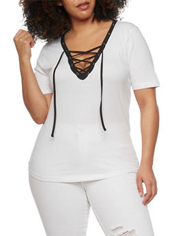Plus Size Lace Up Top with Slashed Back - BLACK/WHITE - 1915033877966