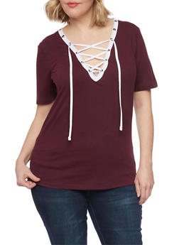 Plus Size Lace Up Top with Slashed Back - PLUM-WHT - 1915033877966
