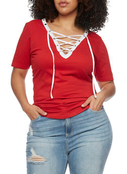 Plus Size Lace Up Top with Slashed Back - RED-WHT - 1915033877966