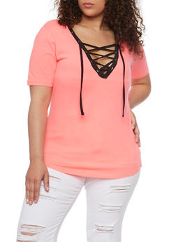 Plus Size Lace Up Top with Slashed Back - PINK-BLK - 1915033877966