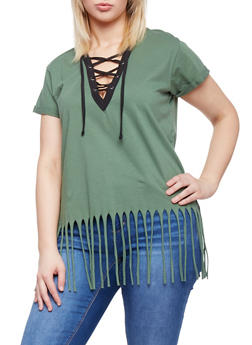 Plus Size Lace Up Top with Fringe Hem - GRN-BLACK - 1915033878012